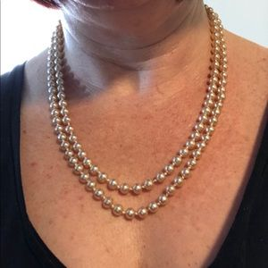 "🆕Vintage 45"" Knotted Glass Pearl Necklace"